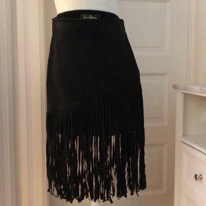 Black suede fringe midi skirt